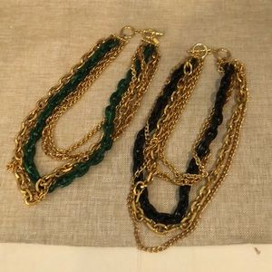 Set of 2 KENNETH LANE Gold Tone Chain Necklaces